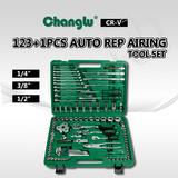 "123+1PCS 1/4"" 3/8"" 1/2"" Dr. Auto Repairing Tool Set"