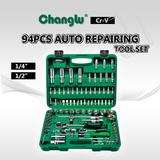 "94PCS 1/4"" 1/2"" Dr. Auto Repairing Tool Set"
